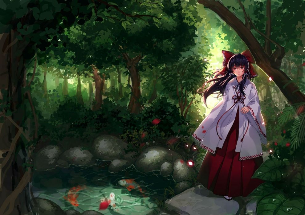 animal bow ego fish forest hakurei reimu japanese clothes long hair miko scenic touhou tree twintails water wallpaper