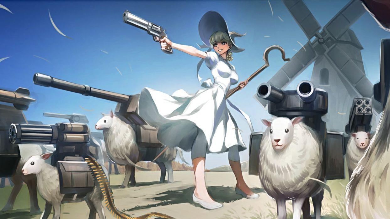 animal dress gun hat kriss sison original sheep staff weapon windmill witch hat wallpaper