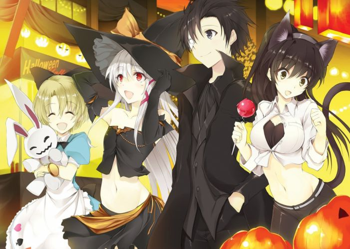 animal ears breasts brown eyes catgirl cleavage cosplay dress food green eyes group halloween hat headband male navel red eyes tail witch witch hat wallpaper