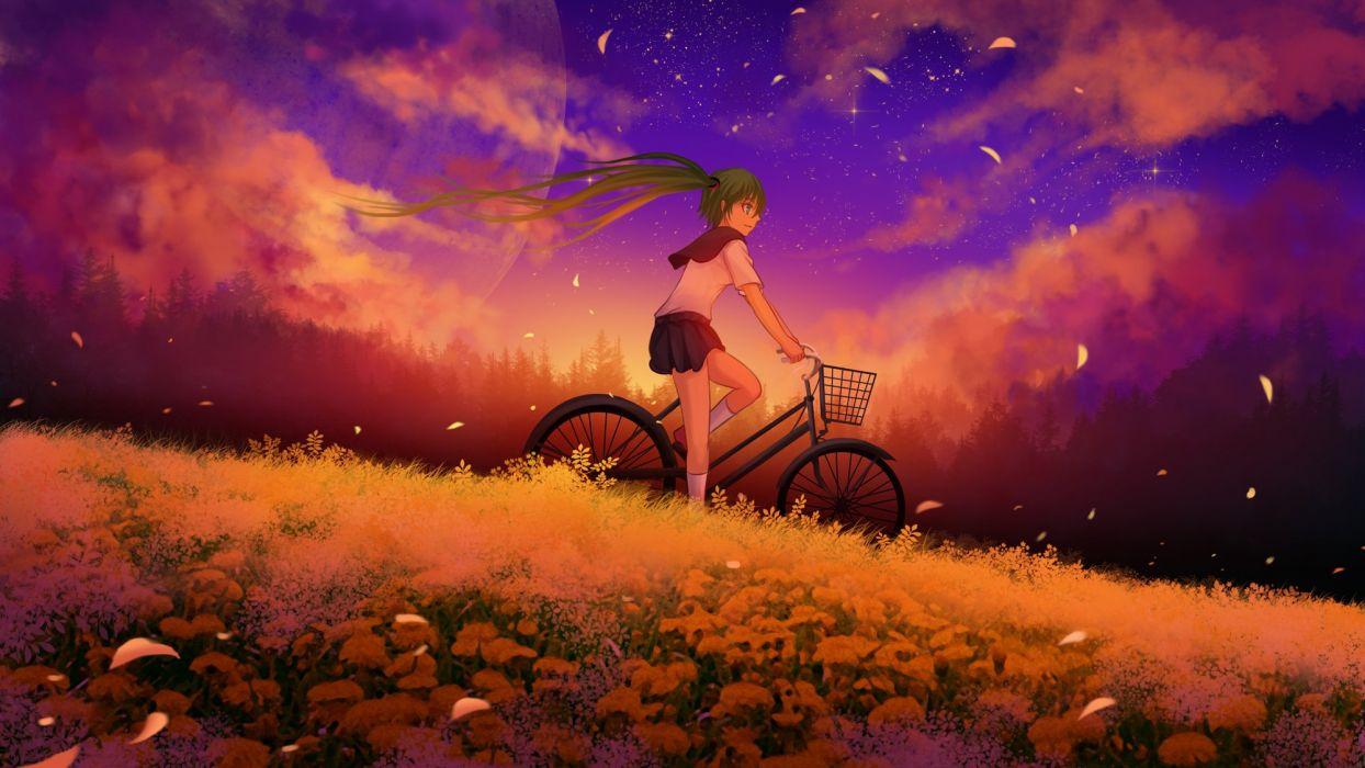 bicycle blue eyes blue hair flowers grass hatsune miku kneehighs landscape moon scenic seifuku sky stars sunset twintails vocaloid wallpaper