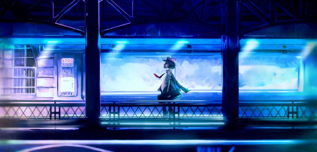 blue hat original short hair tie yoshioka yoshiko wallpaper