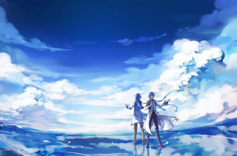 blue hair clouds feng you kaito male scarf scenic sky vocaloid water wallpaper