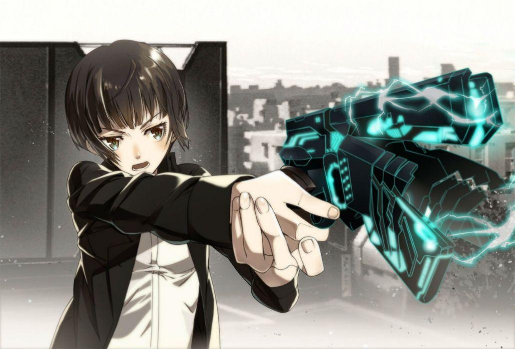 brown eyes brown hair gun nyoronyoro polychromatic psycho-pass short hair tsunemori akane weapon wallpaper