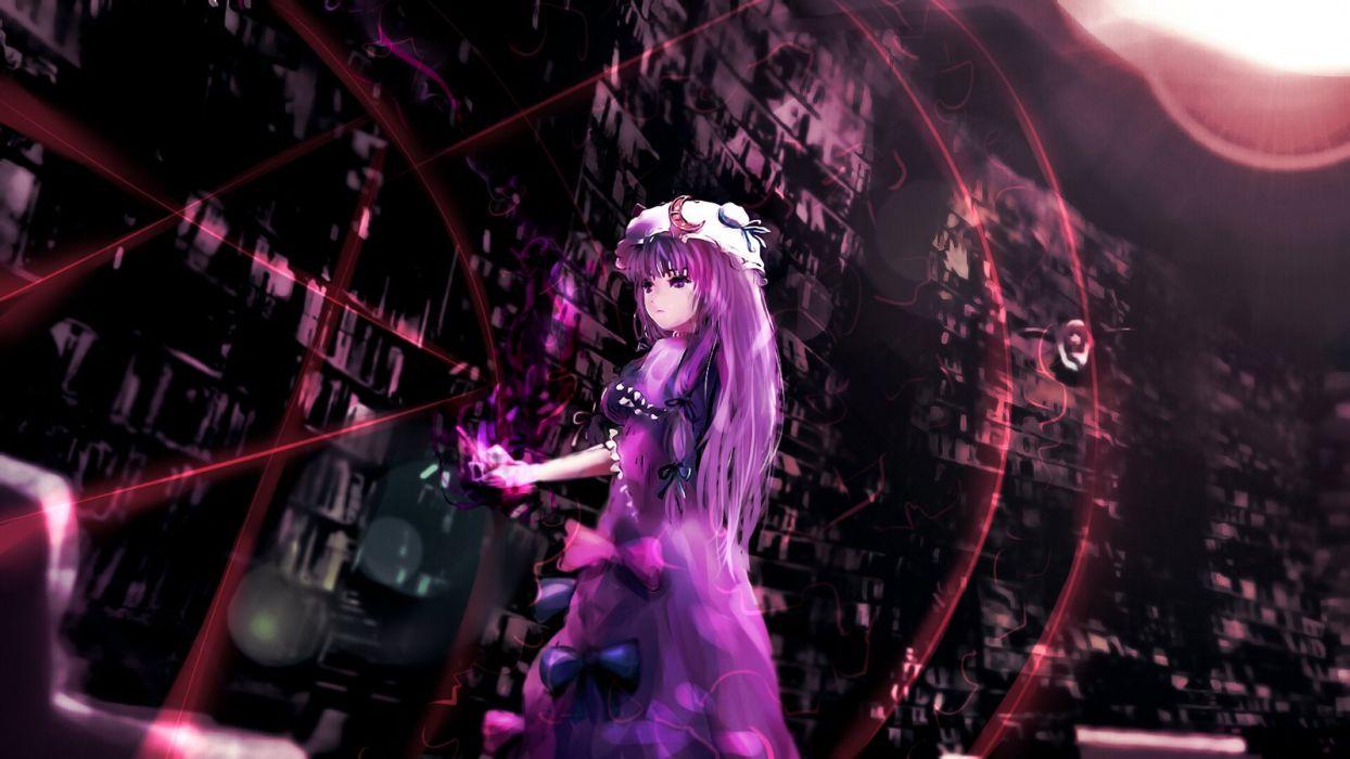 bow dress dyolf hat long hair patchouli knowledge purple hair touhou wallpaper