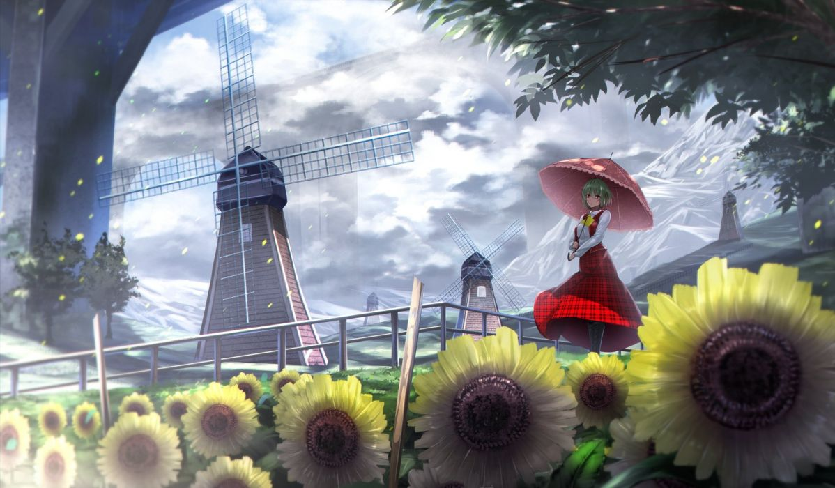 boots clouds flowers kazami yuuka landscape leaves ryosios scenic skirt touhou tree umbrella windmill wallpaper
