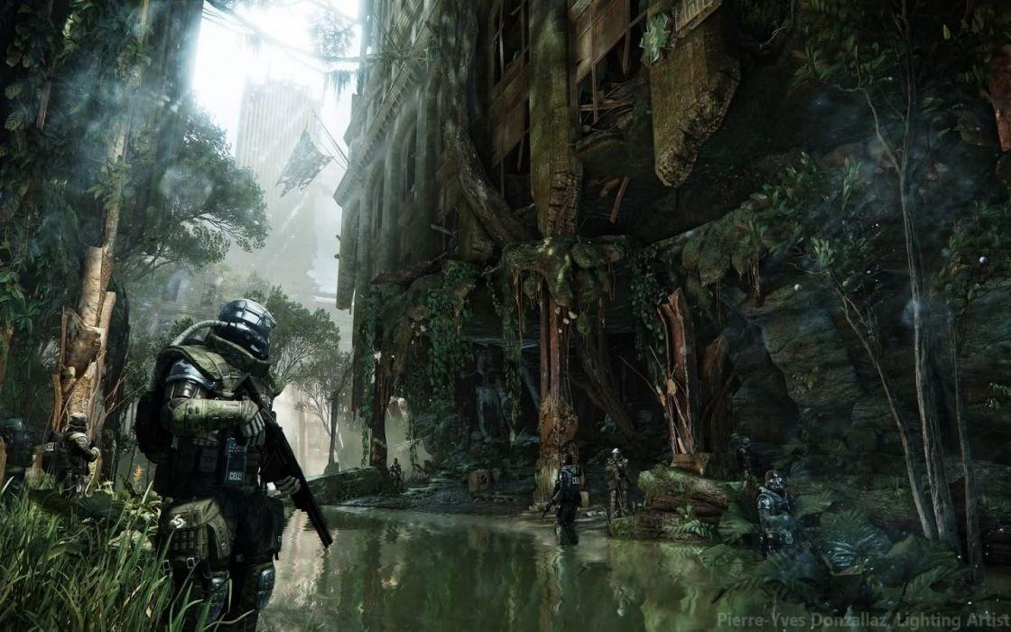CRYSIS sci-fi fps shooter action fighting futuristic sandbox military warrior armor weapon war wallpaper