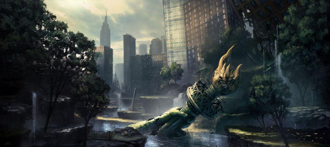CRYSIS sci-fi fps shooter action fighting futuristic sandbox military warrior armor weapon war apocalyptic wallpaper
