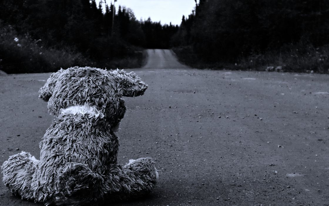 Sad roads stuffed animals monochrome teddy bears black&white landscape forest lonely quiet wallpaper