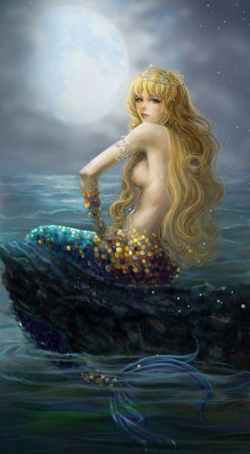 mermaid blonde fantasy girl sea beautiful wallpaper