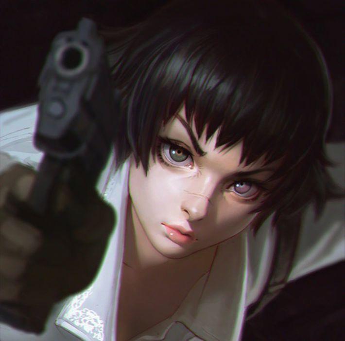 anime anime girl black hair devil may cry gun lady short hair wallpaper