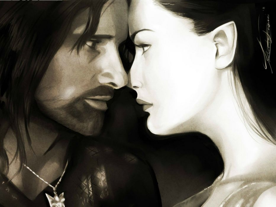 lord+of+the+rings-aragorn-arwen movie love painting art wallpaper