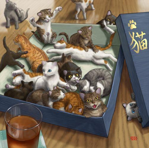 painting art cat baby kitty cute animal wallpaper