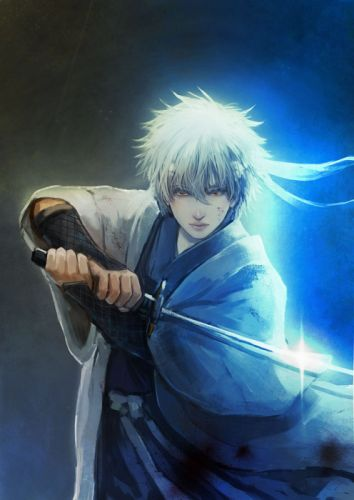 anime series gintama character sword male guy light wallpaper