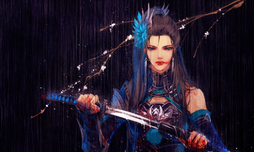 anime girl sword blood original long hair wallpaper