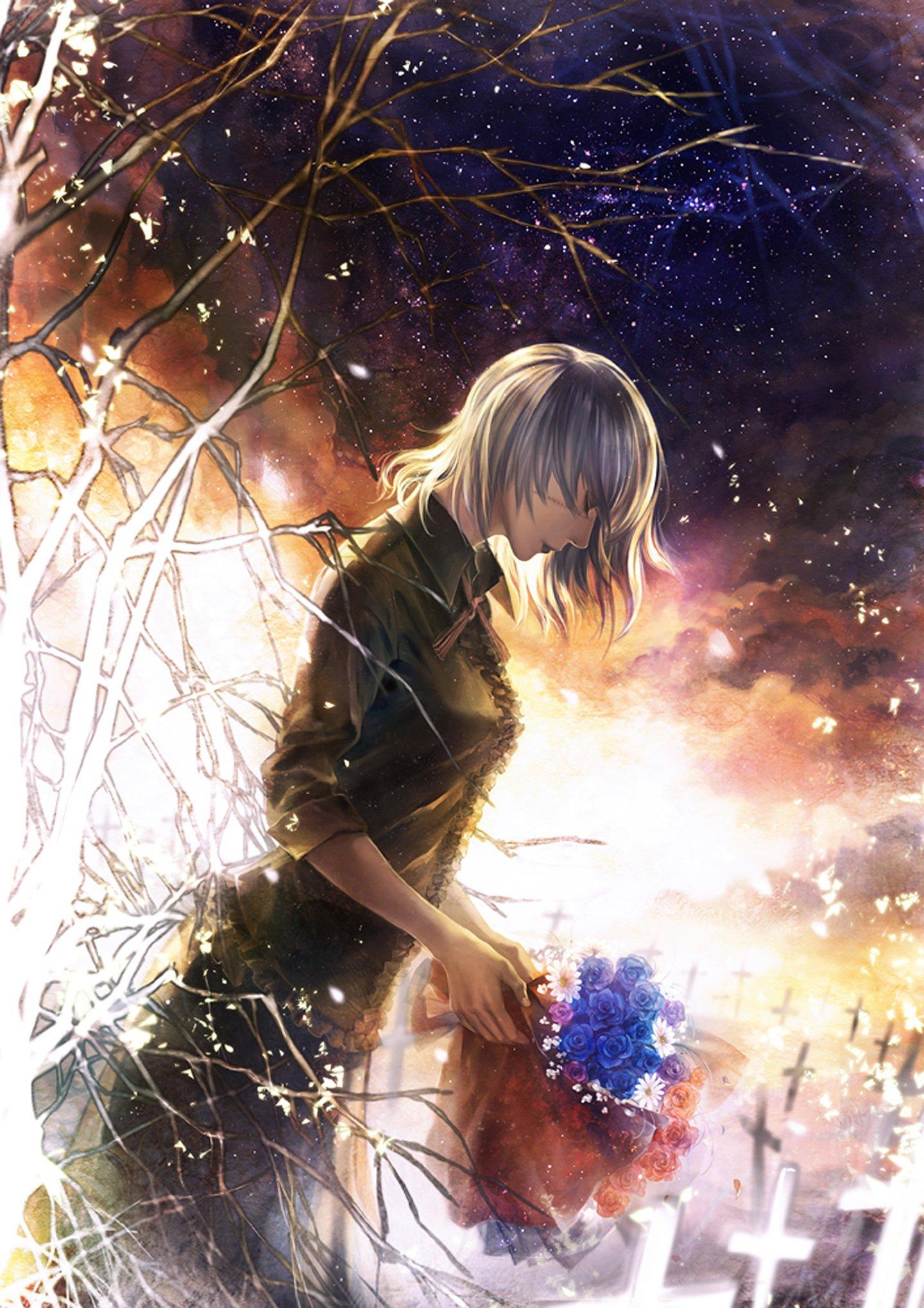 Original Girl Flower Rose Blue Sad Anime Short Hair Wallpaper 1440x2037 634351 Wallpaperup