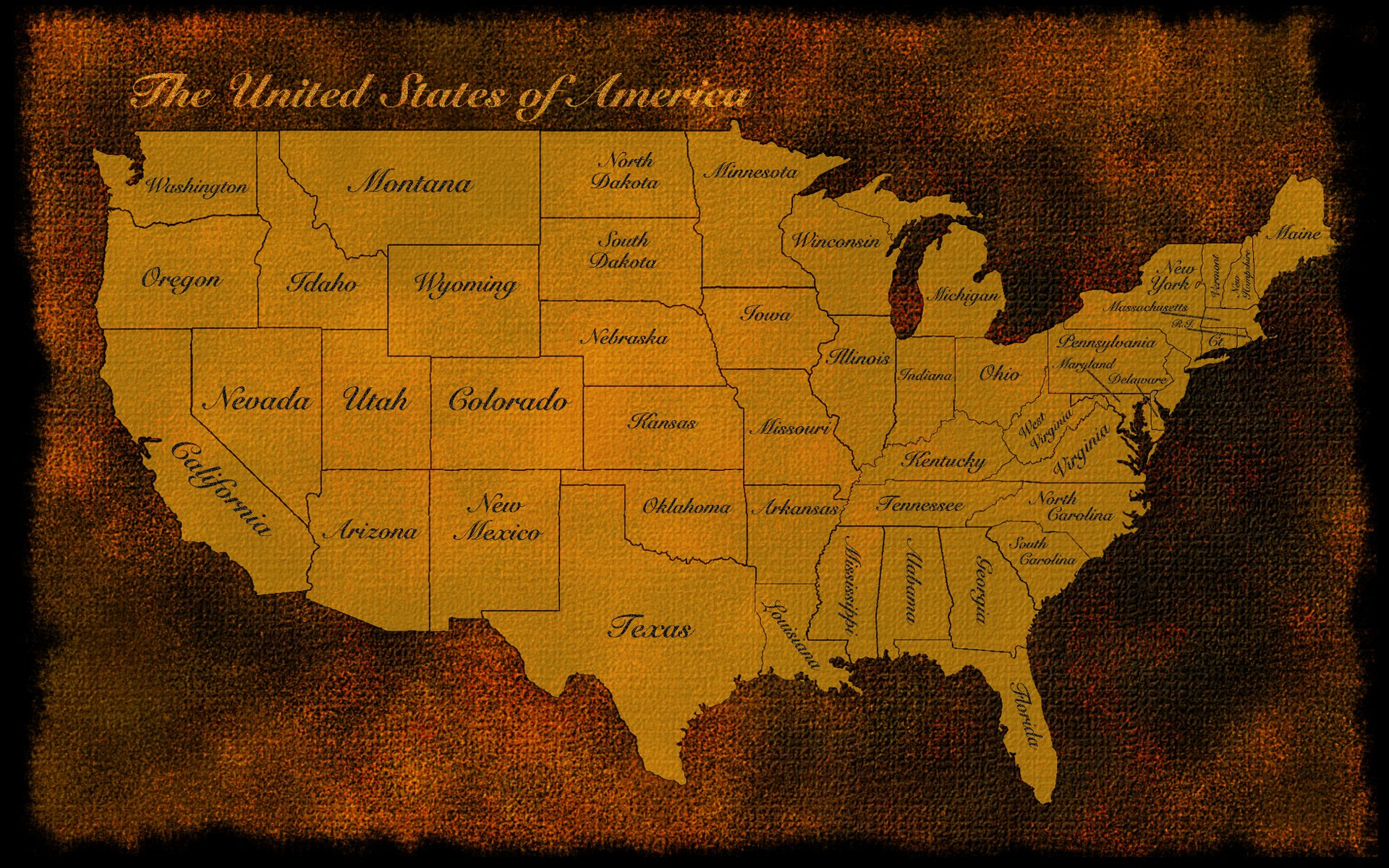Usa Us Map America Old Rustic States Patriotic Wallpaper - Us brown map with states