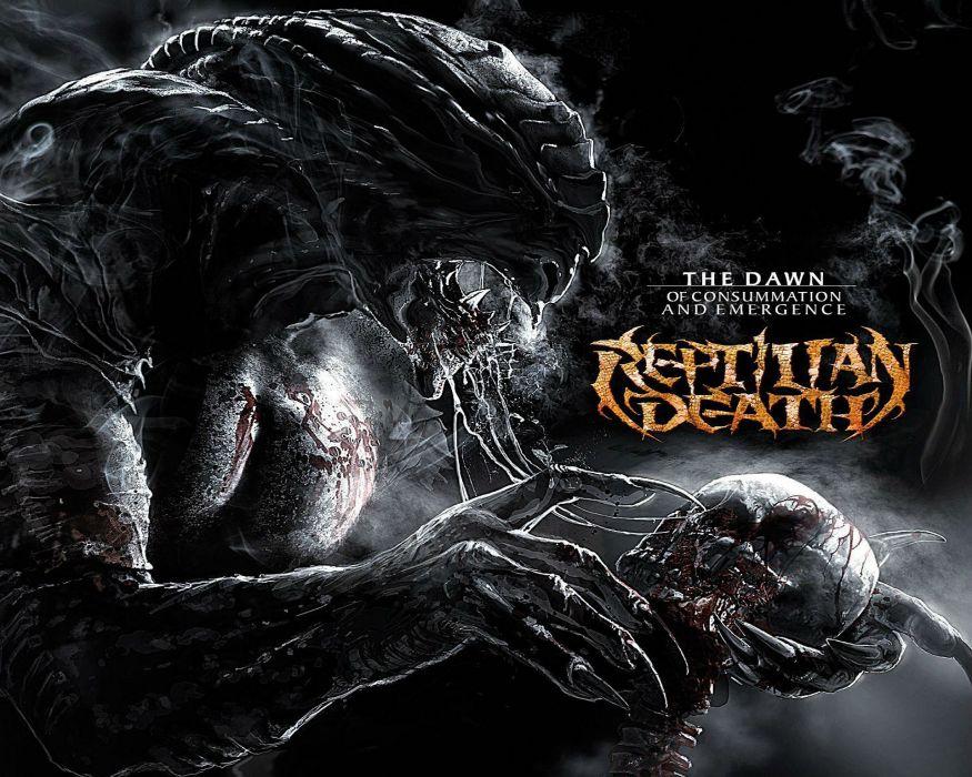DEATH METAL heavy dark evil demon alien skull poster wallpaper