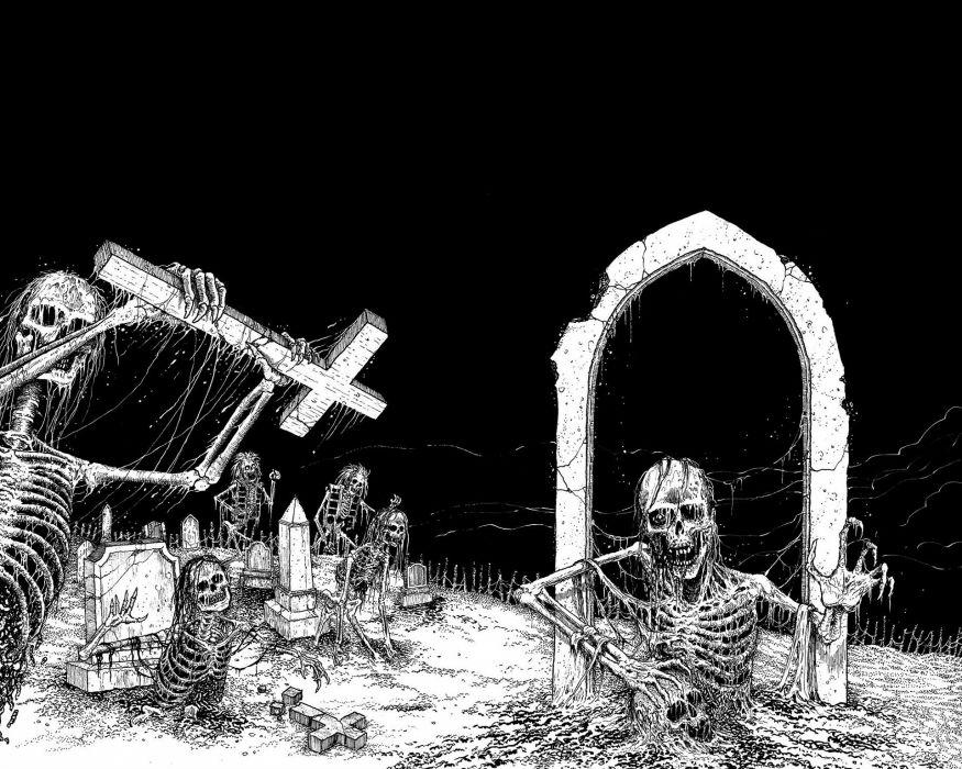 DEATH METAL heavy dark evil skull satanic occult skeleton wallpaper