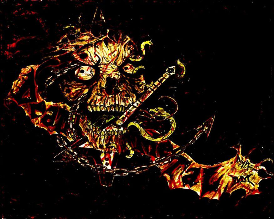 DEATH METAL heavy dark evil skull guitar wallpaper