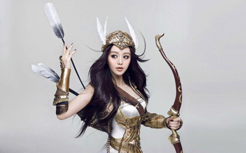 ART - girl asian warrior bow arrow feather wallpaper
