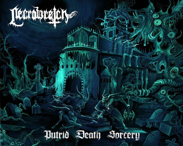 DEATH METAL heavy dark horror evil poster castle skull wallpaper