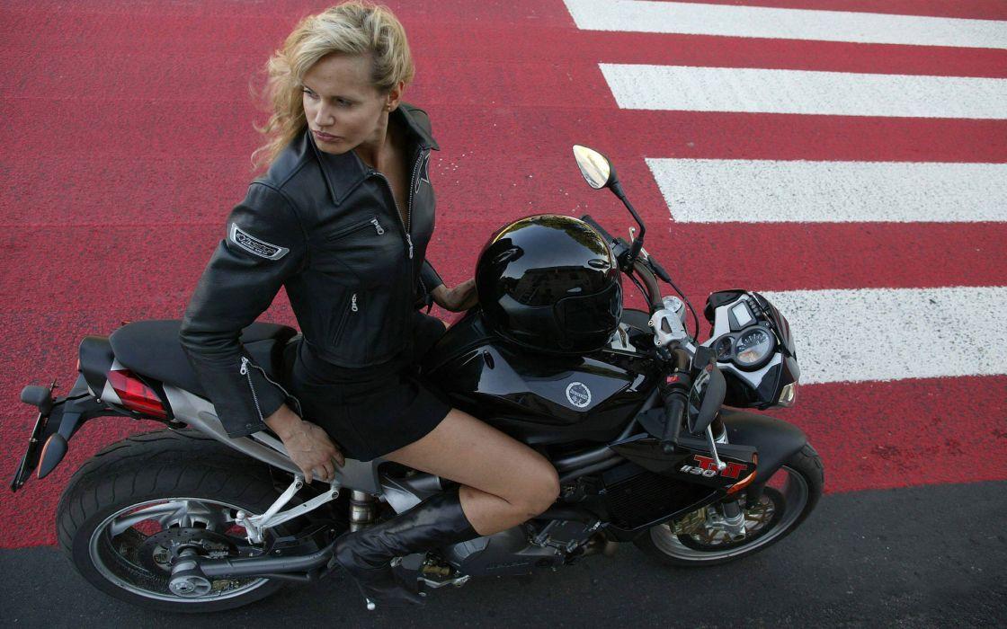 SENSUALITY - girl blonde pose motorcycle jacket boots helmet wallpaper