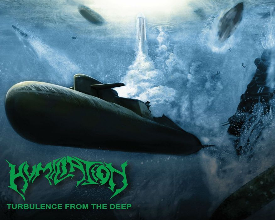 DEATH METAL heavy dark submarine underwater ocean sea military wallpaper