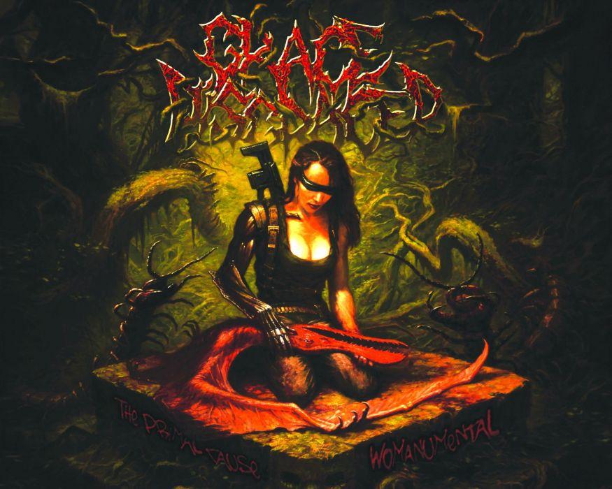 DEATH METAL black heavy dark horror evil gothic dragon demon warrior wallpaper