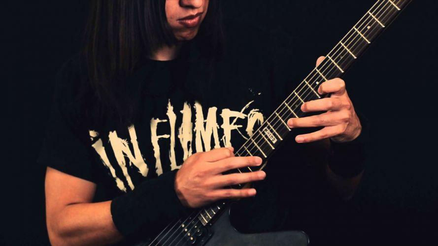DEATH METAL black heavy guitar flames wallpaper