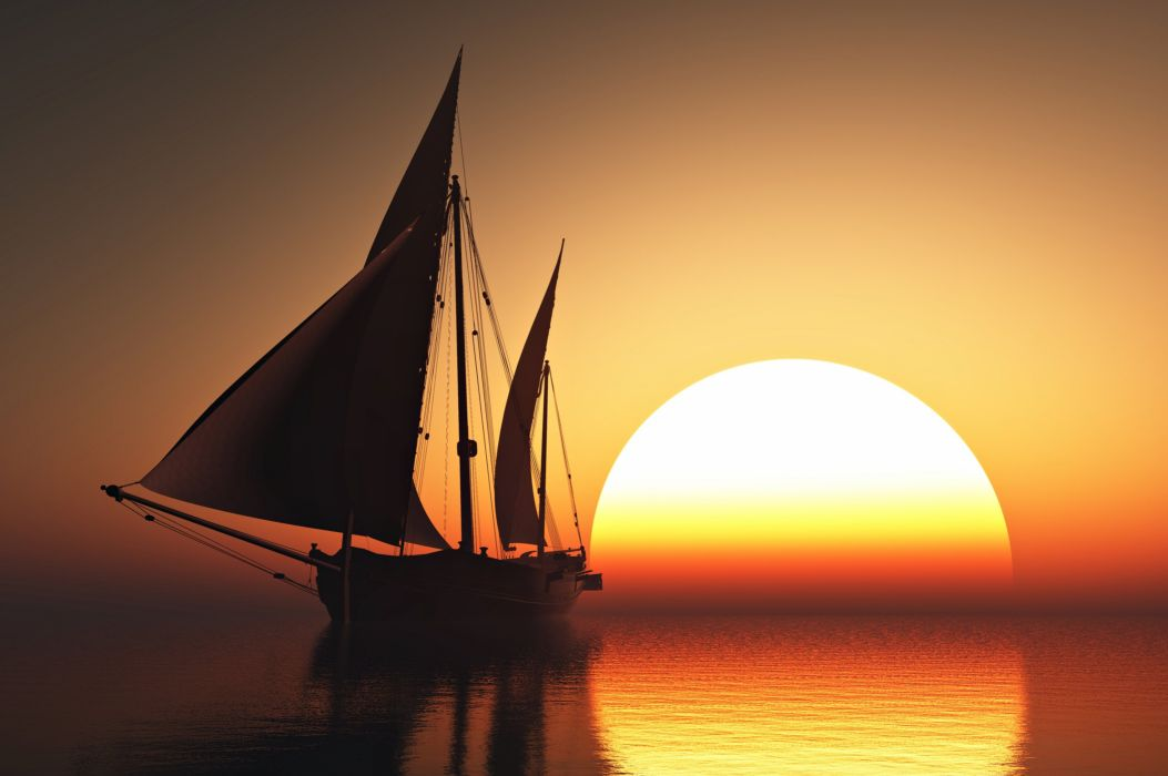 sea sunset boat Sailing sun sky orange beauty romantic emotions quiet calm Yacht nature landscapes life love nice wallpaper