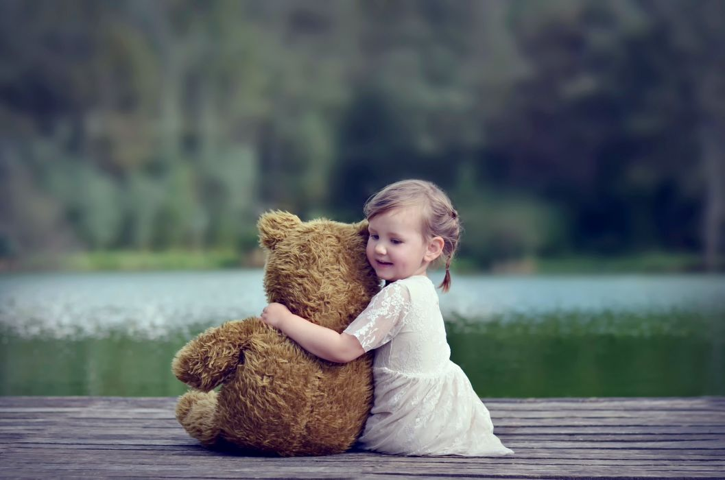 alone Child doll forest Girl kids Littel Lonely nature princess red Sad Way Teddy bear friendship lake wallpaper