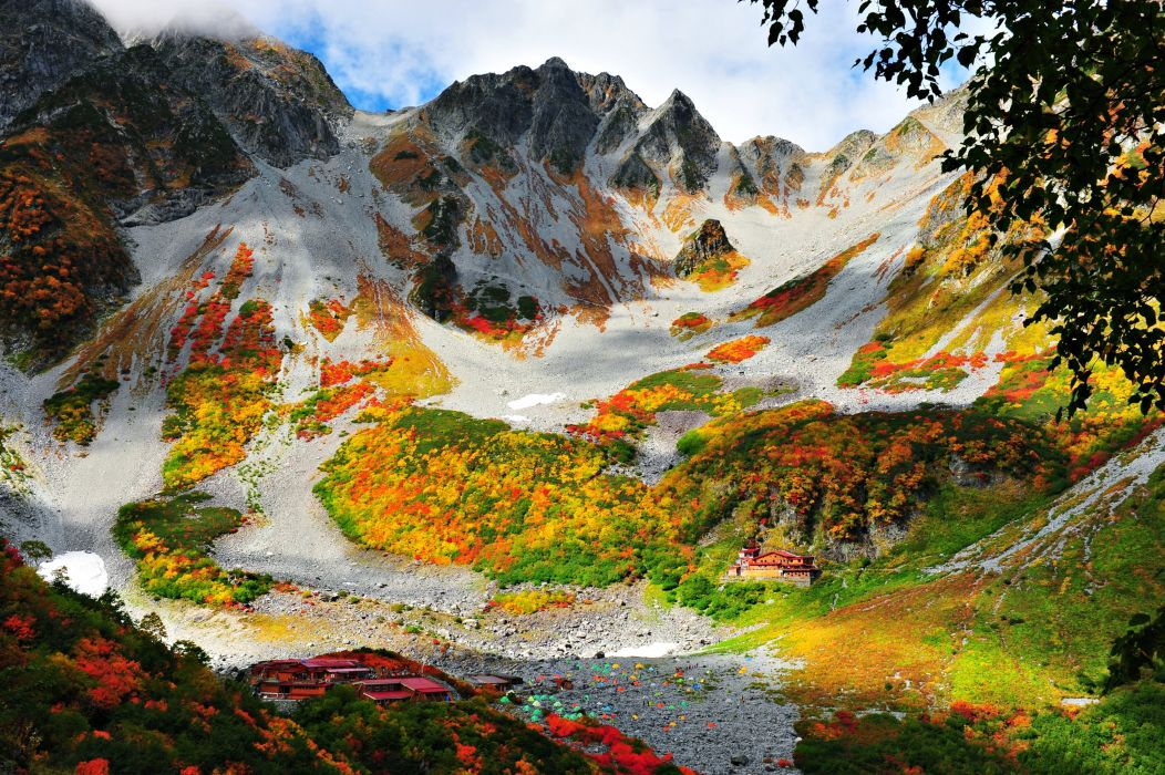 nature landscapes autumn mountains houses forest hills trees beauty wallpaper
