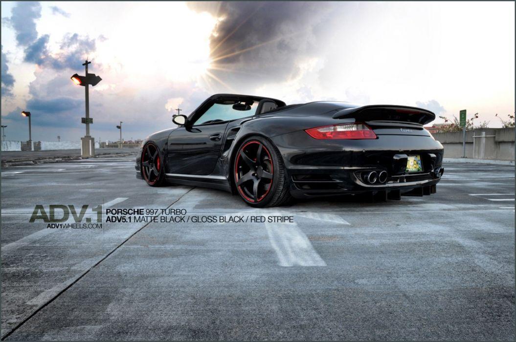 ADV1 black PORSCHE 911 cars Tuning wheels wallpaper
