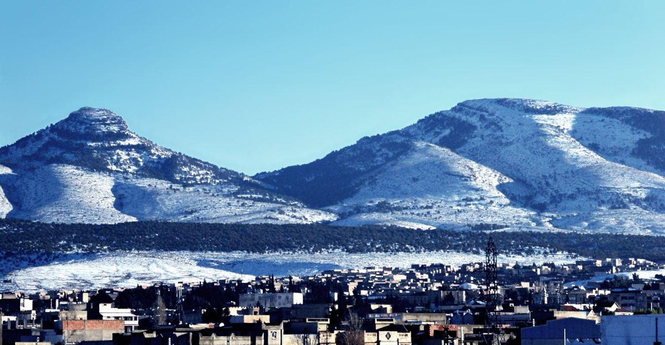 2015 africa algeria amazigh aures buildings City forest houses landscape nature North sky snow tebessa town Winter wallpaper