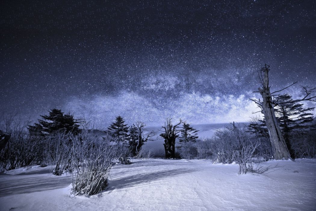 nature sky night stars landscape snow winter wallpaper
