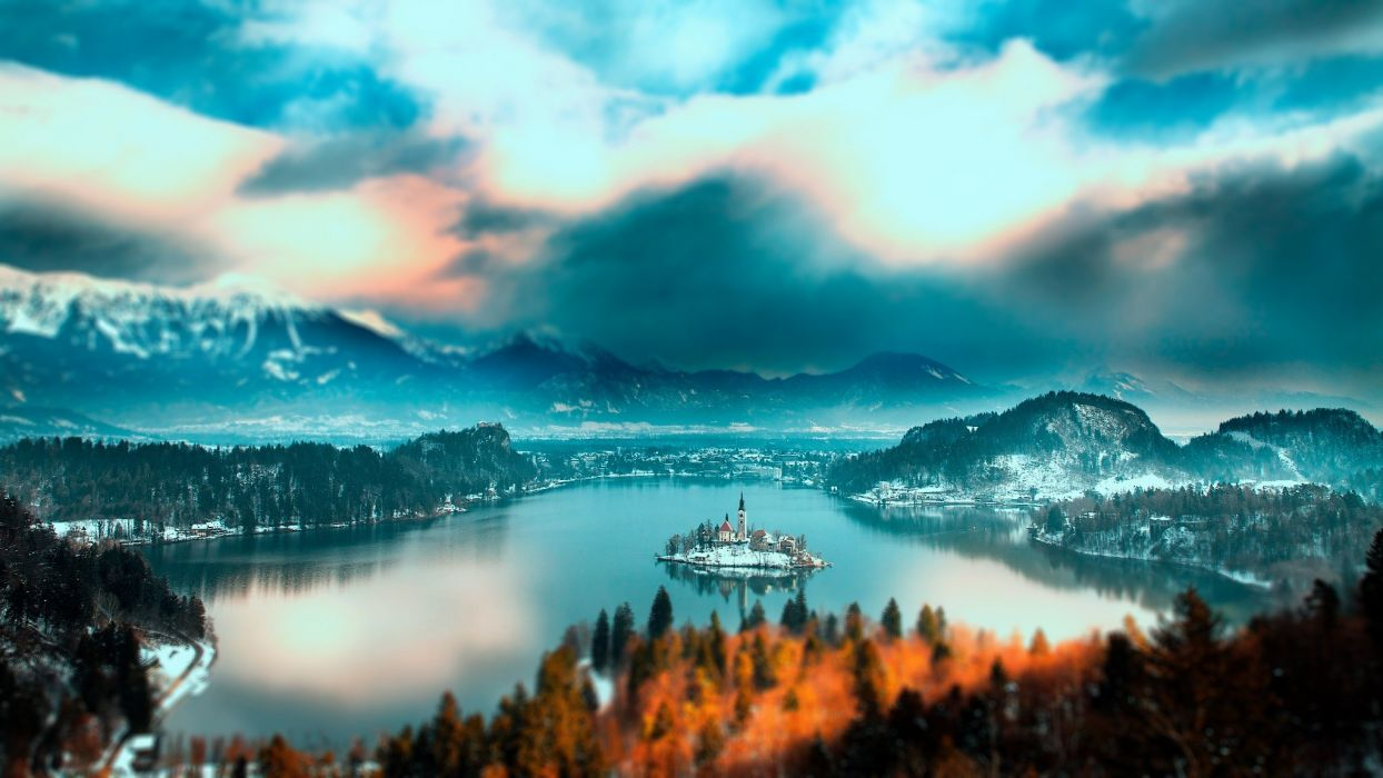 Slovenia Bled lake Slovenia Lake Bled mountain forest trees island church home lake water snow winter sky clouds landscape nature wallpaper