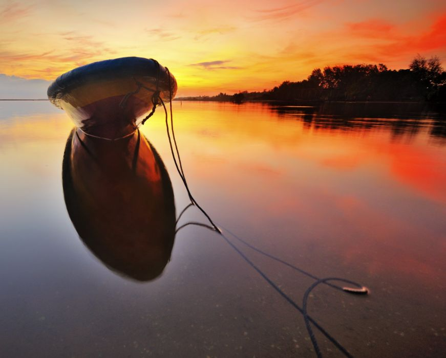 sea calm sunset boat wallpaper
