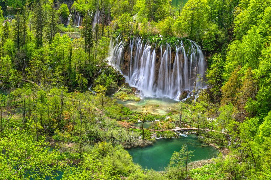trees waterfalls cascades National Park Plitvice Lakes Croatia Plitvice forest wallpaper