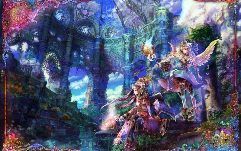 Fantastic world radu original Mage Staff Anime Fantasy Girls angel artwork wallpaper