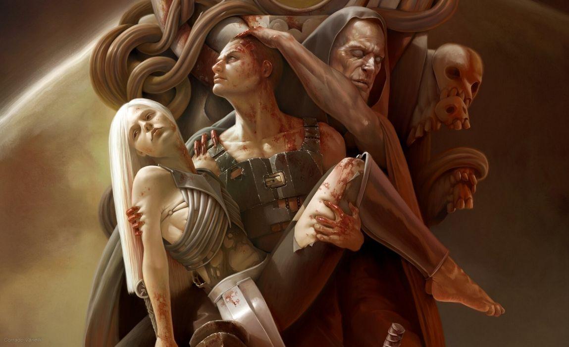 Warrior Men Corrado Vanelli Blood Hood headgear Fantasy skull sad artwork wallpaper