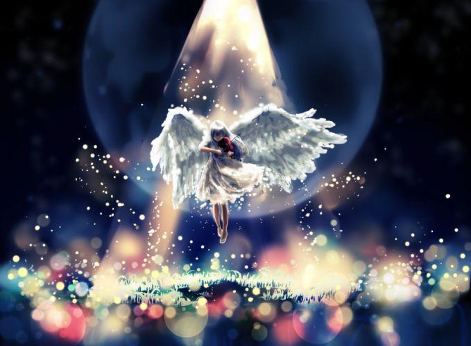 Angel Violin Magic Wings Rays of light Fantasy Girls original artwork wallpaper