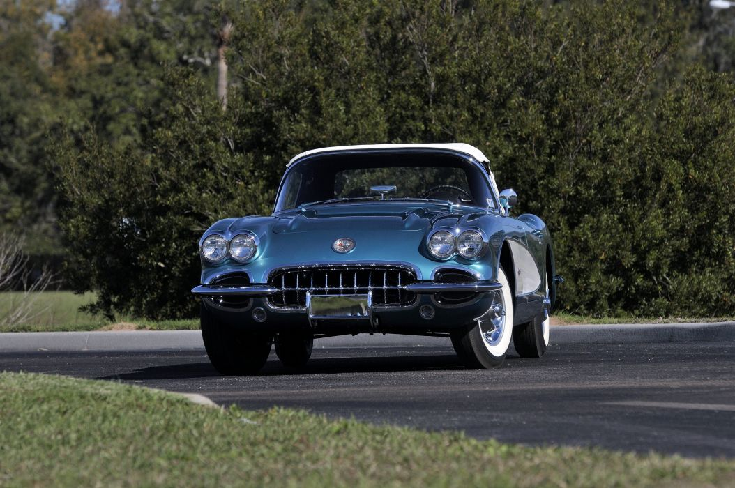 1958 Chevrolet Corvette 283 290HP Ramjet Fuel Injection muscle supercar retro wallpaper