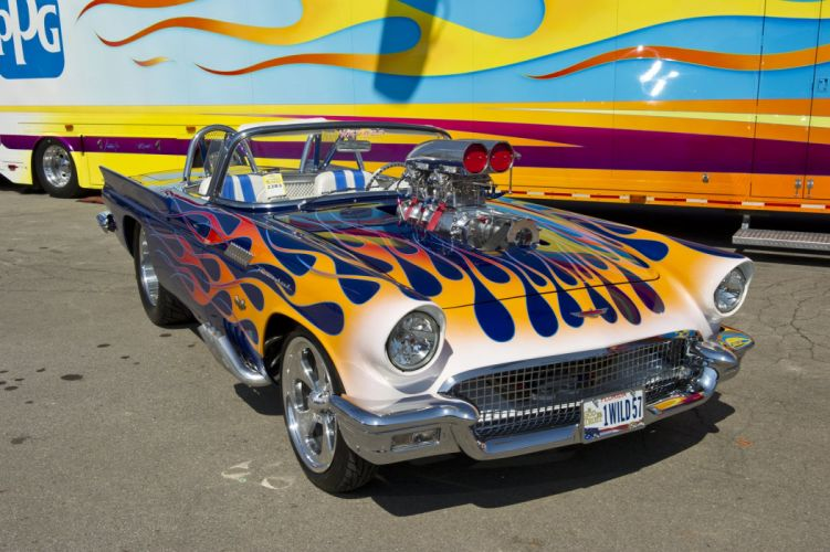 1957 Ford Thunderbird retro muscle luxury hot rod rods race racing drag wallpaper