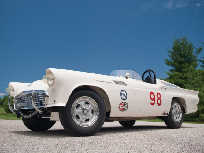1957 Ford Thunderbird retro muscle luxury hot rod rods race racing wallpaper