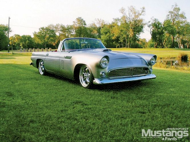1957 Ford Thunderbird retro muscle luxury hot rod rods wallpaper