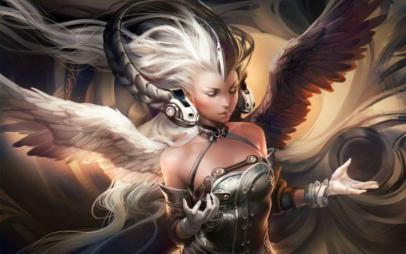 LEAGUE Of ANGELS loa fantasy mmo rpg online 1loa fighting action angel warrior headphones sci-fi wallpaper