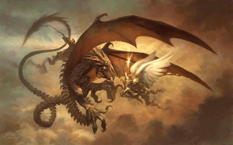 DRAGON - Magic The Gathering angels armor artwork wallpaper