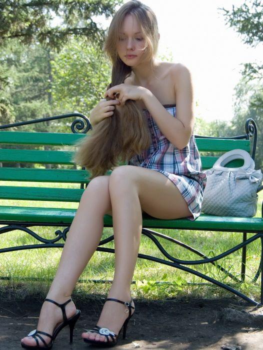 SENSUALITY - girl blonde thoughtful legs braid bench wallpaper