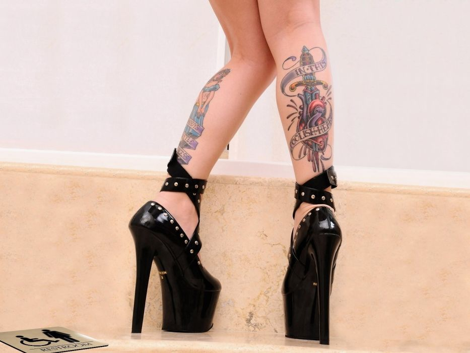 SENSUALITY - girl legs shoes high heels tattoo wallpaper