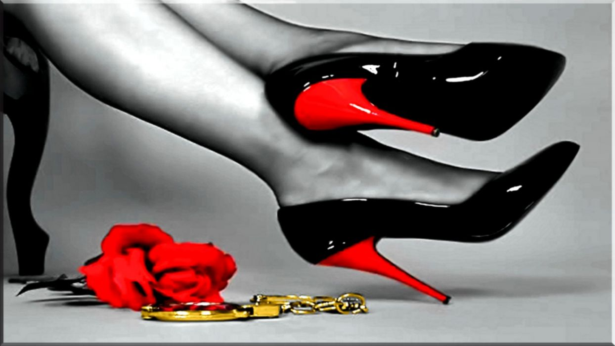 SENSUALITY - girl legs shoes red heels handcuffs roses wallpaper